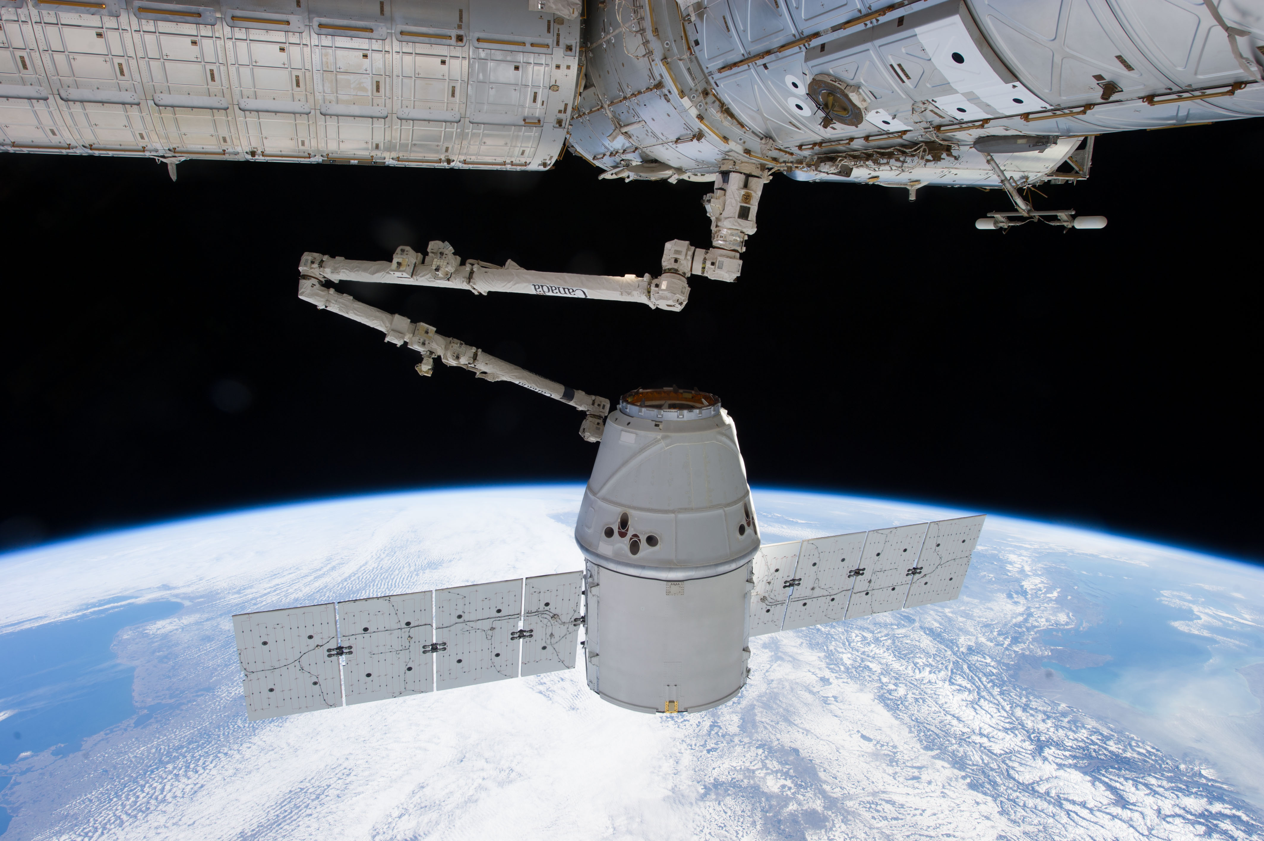 Dragon capsule docking with space station