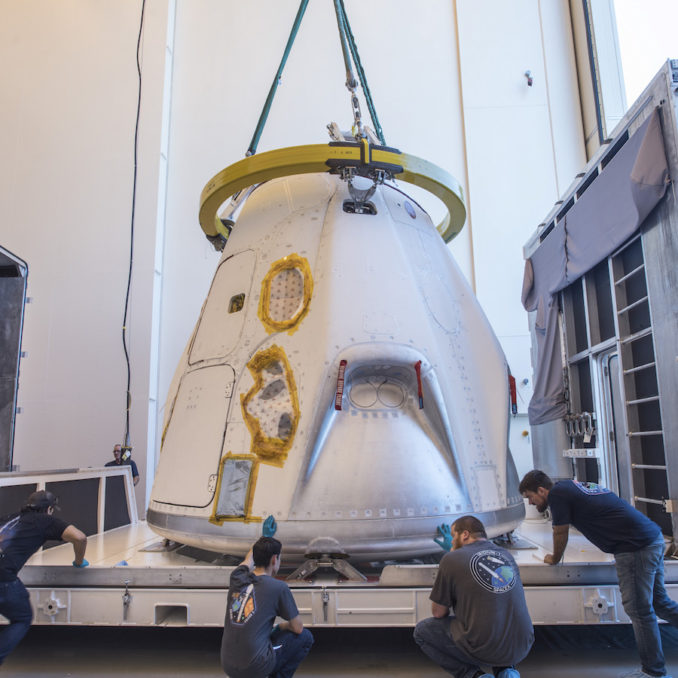 SpaceX Crew Dragon Capsule Arrives at Cape Canaveral
